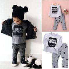 Newborn Infant Kids Baby Boys Letter T-shirt Pants Outfits Clothes Set Baby Boys Clothes Set Boys Clothing Set Toddler Boy Fashion, Little Boy Fashion, Toddler Boy Outfits, Kids Fashion, Toddler Boys, Latest Fashion, Little Boy Outfits, Outfits For Teens, Pants Outfit