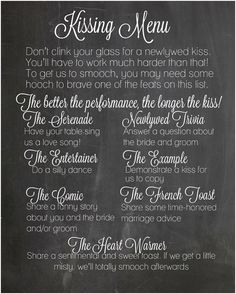 The Kissing Menu Wedding Decorations by SteviSaylerPhoto on Etsy