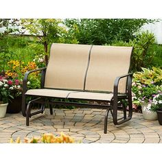 Mainstays Square Tile Sling Glider Bench, Seats 2. cheap and highly rated. for front porch.