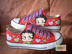 Betty Boop Custom Hand Painted Canvas Sneaker Shoes by galaxyfun