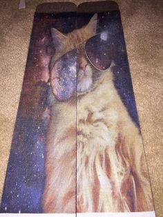 Cat In Space Wearing Glasses -  Custom Made Knee High Socks - Women by ictsocks. Explore more products on http://ictsocks.etsy.com