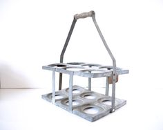 French wine bottle carrier holder, Metal basket,Milk Bottle career zinc, painted white metal carrier, french country kitchen by ChicFrangine on Etsy