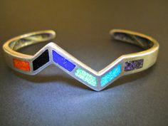 Sterling Silver Southwest Inlaid Cuff Bracelet by RenaissanceFair