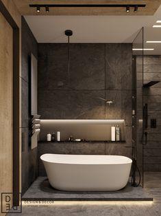 DE&DE/Georgeous minimalism with wooden accents on Behance Bathroom Design Luxury, Modern Bathroom Design, Bath Design, Tile Design, Modern Interior, Home Interior Design, Bathroom Inspiration, Future House, House Design