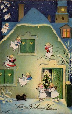 1920s German postcard Christmas angels