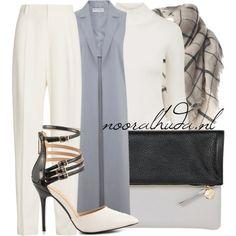 Hijab Outfit  nooralhuda.nl  Office Chic. // Kantoor Chic. // Bureau Chic.      Topshop jumper €33-topshop.com   Miss Selfridge lapel jacket €40-johnlewis.com   Joseph pleated wide leg pants €435-net-a-porter.com   Liliana heels stiletto €51-heels.com   Clare V white clutch €215-onekingslane.com   Tartan plaid scarve €12-pinkqueen.com