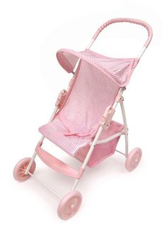 Doll Strollers - Badger Basket Folding Doll Umbrella Stroller  Pink Gingham fits American Girl dolls ** Read more at the image link.
