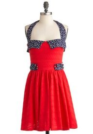 Cute red dress with blue polka spots on the edge of the shoulders