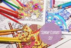 Sunday Clothes  Digital Adult Coloring Page Set by MaatSilk