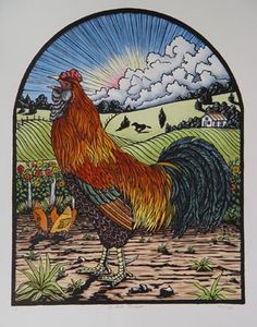 Margie Crisp, El Gallo Pintado, edition of 18, hand colored lithograph, 18 x 14 inches, at Valley House Gallery.