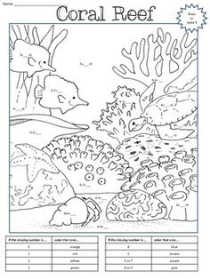 division facts coloring page - color addition and subtraction physics worksheet answers