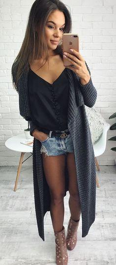 #fall #outfits Dark Maxi Cardigan + Black Top + Denim Short