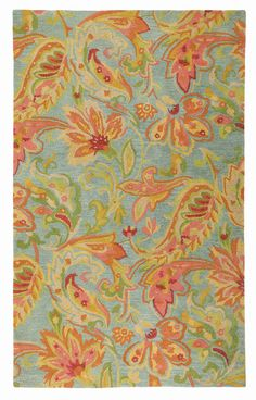 Like flowers floating in a beautiful pool, the lush Serendipity rug mixes free-flowing blossoms and paisley forms in lemon, coral and watermelon on an aqua ground. The large-scale motifs in high-twist yarns create a visual treat for any room in the...