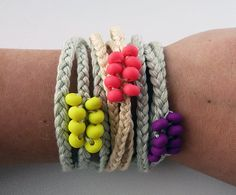 Neon beaded friendship bracelet.