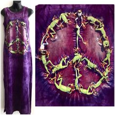 Peace Victory Frog Sleeveless Dress The Mountain Beach Boho Hippie Tie Dye Small #TheMountain #GraphicTee
