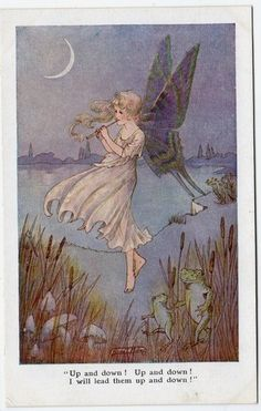 Early HILDA MILLER Fairy Frogs and Toadstools  Faulkner  Mint Postcard
