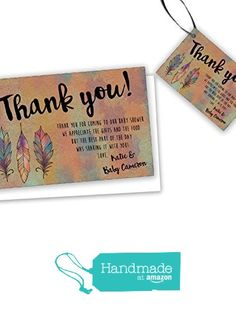Tribal Baby Shower Thank You Cards Boho Feathers Kraft from Party Print Express https://smile.amazon.com/dp/B01H9LGZ4C/ref=hnd_sw_r_pi_dp_ftwqzbNP1NFEX #handmadeatamazon