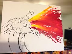 "Melted crayon art on canvass! I started by melting the crayons first and then drew the dragon. The dragon is thanks to a step by step ""How to Draw a Dragon"" website I found, sketched with pencil and went over again with acrylic paint."