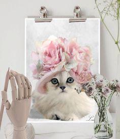 White Cat art print, Cat decor, Art cat gift, Cat wall decor, Cat artwork, Cat poster, Cat painting, Cat art wall hanging, Cat pink rose hat