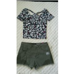 Aeropostale bundle! This bundle includes a crop top (size Medium) and a pair of cute olive green shorts (size 6). The shorts have a detail of lace in the corners adding a flirty feel to it. The crop top does not have any texture to it, the design on it is just the fabric design. This outfit overall is very cute and fashionable! If you want to adjust the items in the bundle for other things in my closet I'll definitely work with you (3 Aeropostale Shorts Jean Shorts