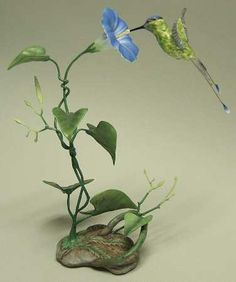 Boehm Boehm Birds Hummingbird W/ Morning Glory - No Box