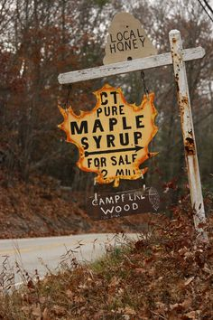 Low Cognitive Effort: this clever maple leaf sign clearly tells passers-by where they can go to buy pure Connecticut maple syrup, honey, and campfire wood.