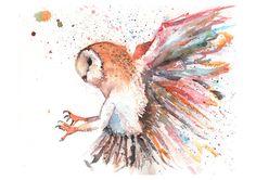 Owl in flight watercolour illustration nursery by shortadventures, $35.00