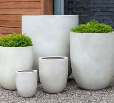 Create a modern landscape indoor or out with our Aurora Planters. Handcrafted in a range of width and heights, they have the look of substantial concrete planters, but they're actually made of a lighter-weight fiberglass-clay composite. Large Outdoor Planters, Hanging Planters, Planter Pots, Outdoor Pots And Planters, Large Concrete Planters, Modern Planters, Succulent Planters, Cheap Planters, Indoor Outdoor