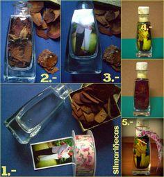 cómo hacer una botella con foto y aceite-