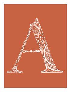 "Free Printable Letter ""A"" in henna via Lydia Lark"