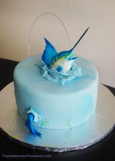 Fisherman Cake! Marble cake with swiss meringue buttercream. fondant Marlin....