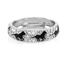 Pre-owned Hidalgo 18K White Gold & Black Enamel with Diamond Running... (2,555 NZD) ❤ liked on Polyvore featuring jewelry, rings, diamond jewelry, white gold diamond rings, white gold rings, hidalgo rings and horse ring