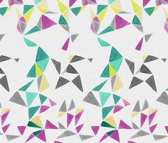 triangle FACETS - white space - ravynka - Spoonflower - another option could be adding more pattern/impact with your drapes and then having the seat fabric in a more neutral color. This fabric could be fun for impactful window treatments with gray/purple painted walls.
