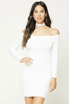 A ribbed knit bodycon dress featuring an off-the-shoulder design and long sleeves.