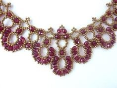 Free beading pattern for a lovely vintage looking lacy crystal necklace, made with 4mm round crystals and 11/0 seed beads.