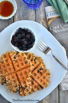 Gluten-Free & Dairy-Free Cinnamon cherry Oatmeal Waffles TheHealthyApple.com #glutenfree #recipe #healthy