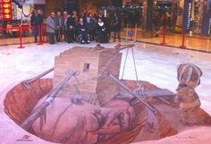 Ayer los mayores del centro de día de Culleredo hicieron una visita a la pintura 3D de Eduardo Relero en el centro comercial Cuatro Caminos. Aquí los vemos junto a la obra.