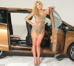 Girl-about-town: Made In Chelsea's Cheska Hull posed next to the new Ford B-MAX 'for girls' in a glamorous promotional shoot today