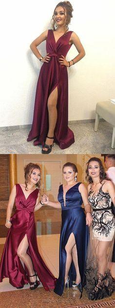 Burgundy Prom Dresses, Long Prom Dresses For Girls, Cheap Prom Dresses Modest, 2018 Prom Dresses A-line, V-neck Prom Dresses Silk-like Satin, Sexy Prom Dresses Split Front #Burgundy #partydresses