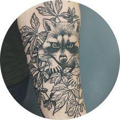 An unfinished raccoon piece for Valentin Wolf Tattoos, Animal Tattoos, New Tattoos, Tatoos, Family Tattoos, Sister Tattoos, Grey Tattoo, Black Tattoos, Raccoon Tattoo
