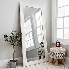 This White Woodgrain Framed Wall Mirror brings a rustic touch of elegance to your space. The unique look and stunning neutral finish make it stand out. Living Room Mirrors, Living Room Decor, Bedroom Decor, Modern Bedroom, Mirrors For Bedroom Wall, White Wall Bedroom, Bedroom Frames, White Walls, White Wall Mirrors