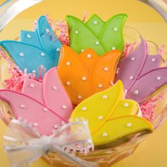 Tulip Cookies, Flower Decorated Sugar Cookies - 12 cookies, individually bagged and bowed. $27.00, via Etsy.