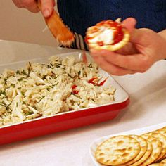 Crab Cocktail Dip is an easy crowd pleaser   http://www.rachaelraymag.com/Recipes/crab-cocktail-dip