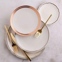 West Elm, Terracotta, Stoneware Dinnerware Sets, Dinnerware Ideas, Vintage Dinnerware, Porcelain Dinnerware, Gold Flatware, Cutlery, Flatware Set