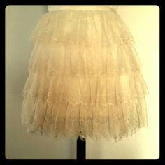 Tier Lace Mini Skirt Fully lined lace mini. Hidden side zipper. 15 inches long. Like new. Twentyone  Skirts Mini