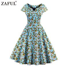 ZAFUL 2017 Vintage Butterfly Print Summer Dress Women Robe Rockabilly Feminino Vestidos Hepburn 50s 60s retro dresses Plus Size-in Dresses from Women's Clothing & Accessories on Aliexpress.com | Alibaba Group