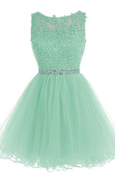 A Line Cap Sleeve Beading Lace Crystal Appliques Mint Sleeveless Tulle Mini  Shot Homecoming Dress