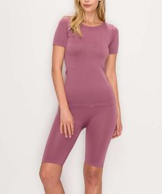 Kimberly C Mauve Seamless Tee & Bike Shorts - Women | Zulily