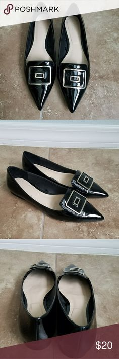 "ZARA black faux patent leather flats SZ 8 Excellent condition! A small scuff on right toe. Very gently worn.  Size US 8 Length 10"" width of insole at widest 3 1/4"" Zara Shoes Flats & Loafers"