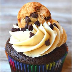 Chocolate Chip Cookie Dough Cupcake! I made them! They are so good!